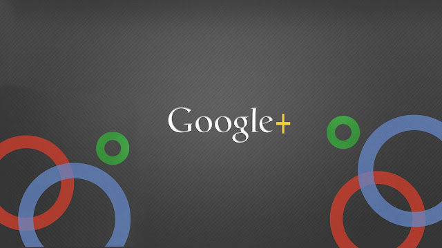 The Google+ logo over a graphic of circles in the Google logo colors.