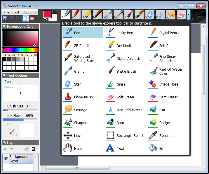SmoothDraw 4-Interface with paint tools
