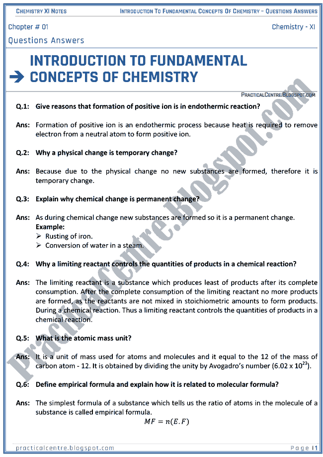 Introduction To Fundamental Concepts Of Chemistry - Questions Answers - Chemistry XI