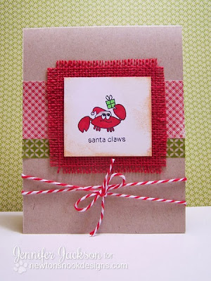 Santa Claws Crab Christmas Card using burlap by Newton's Nook Designs