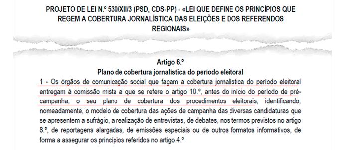 Extrato do Projecto de Lei Nº 530 /XII/3