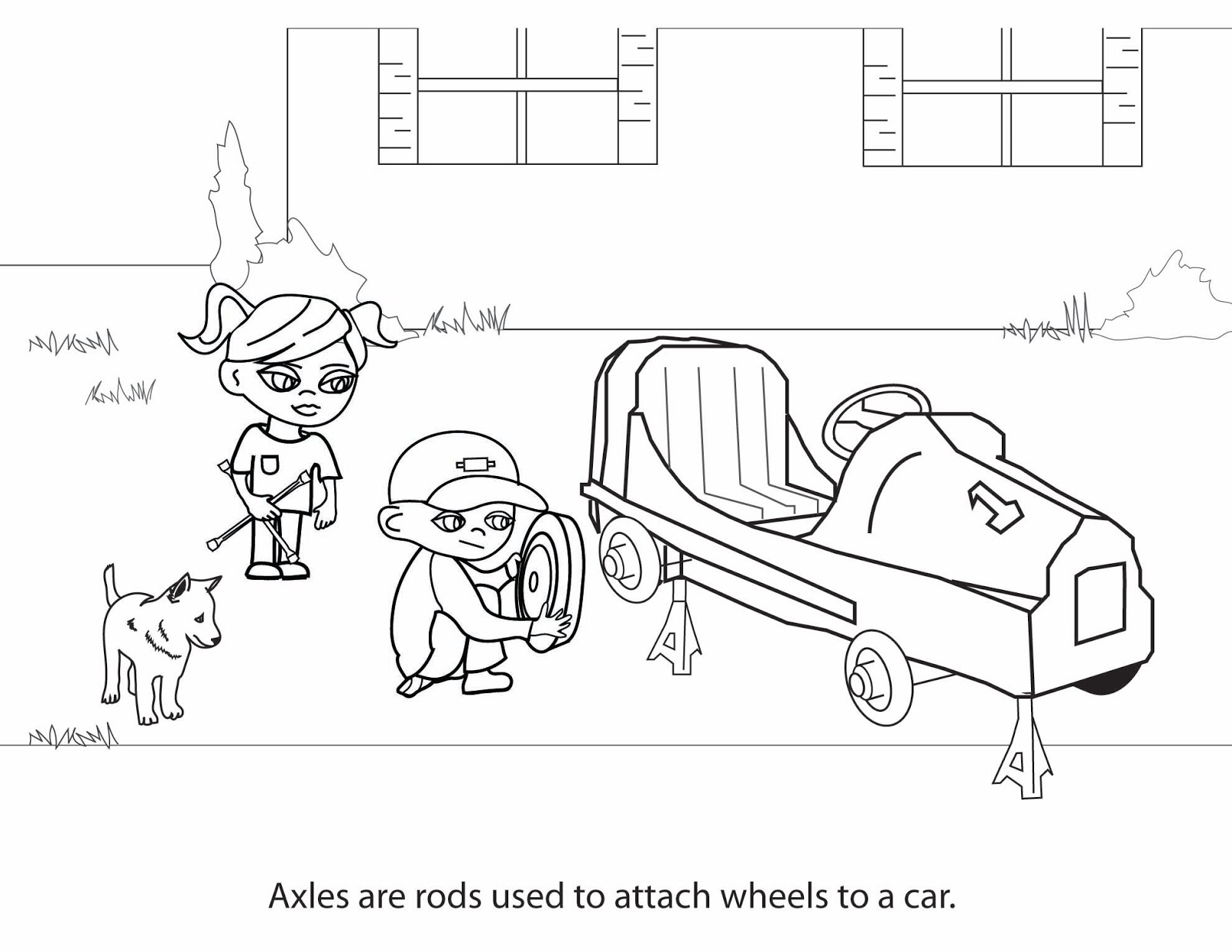 wheel and axle simple machine coloring page pictures to