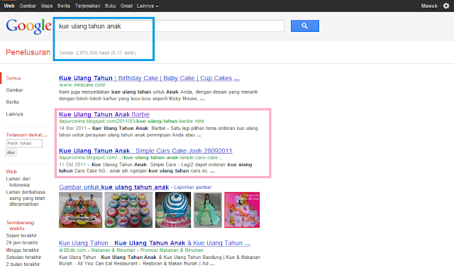 Keyword Kue Ulang Tahun Anak di SERP Google Indonesia
