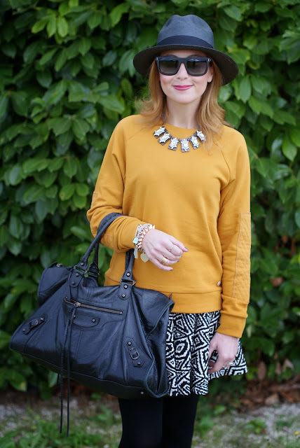 outfits, mustard sweatshirt, ecua-andino panama hat, balenciaga work, fashion and cookies, fashion blogger