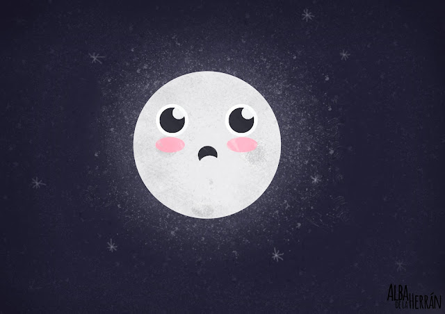 Sad moon illustration