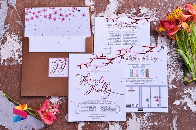 Jhen Jholly Cherry Blossom Themed Wedding Invitation Stunro