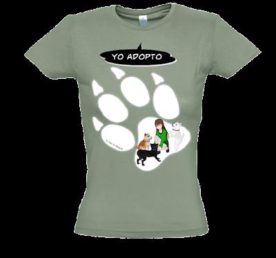 "Camiseta manga corta para mujer ""Adopto perros"" color caqui"