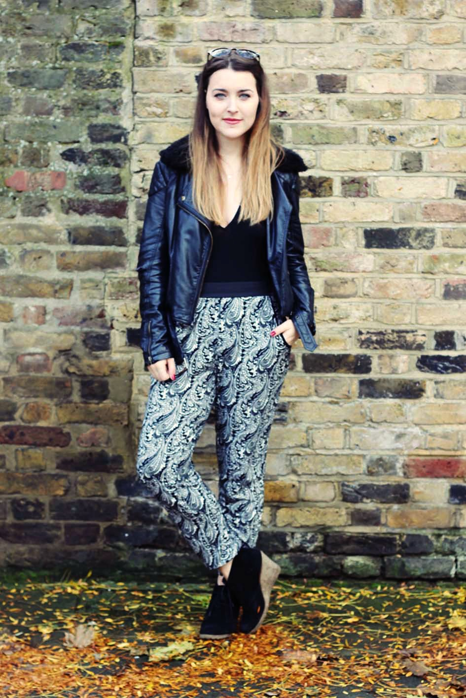 monochrome harem pants outfit