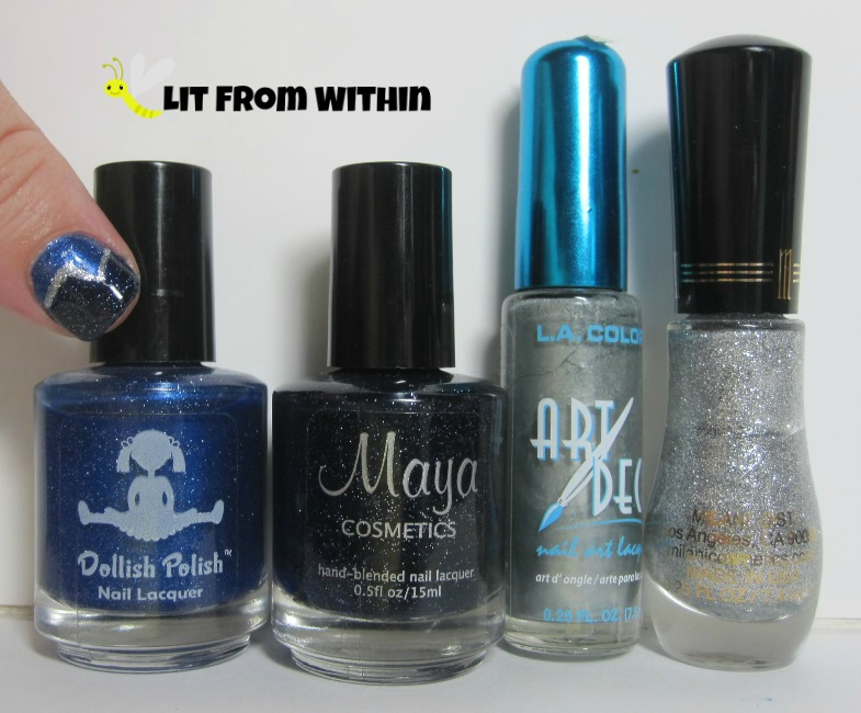 Bottle shot:  Dollish Polish It's Bigger On The Inside, Maya Cosmetics Stargazing, silver and silver glitter liners.