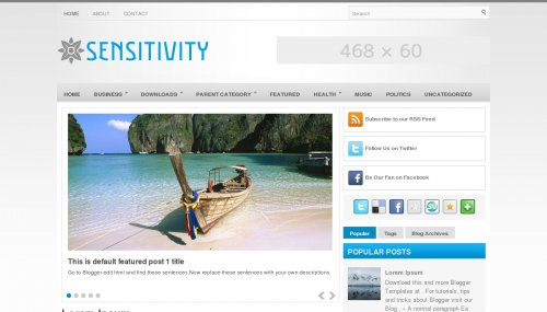 sensitive blogger template layout designs free download
