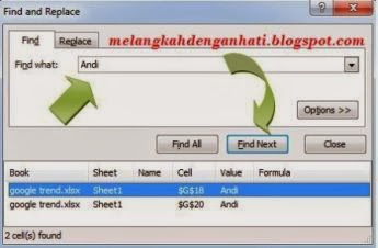 Cara mudah mencari text/kata pada file Excel 2007