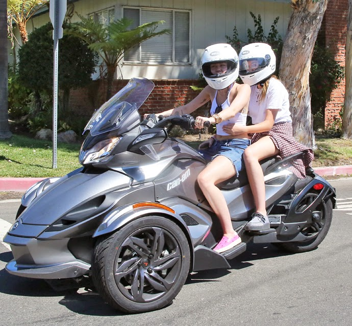 Miley Cyrus Takes Her Sister For A Spin