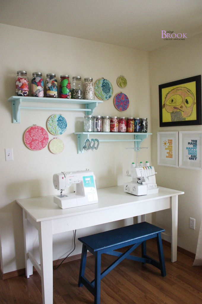 Sewing craft room tour furniture beingbrook - Small space sewing area style ...