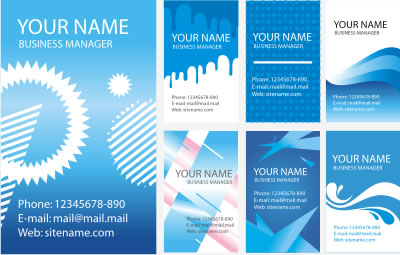 BLUE ABSTRACT BUSINESS CARDS VECTOR