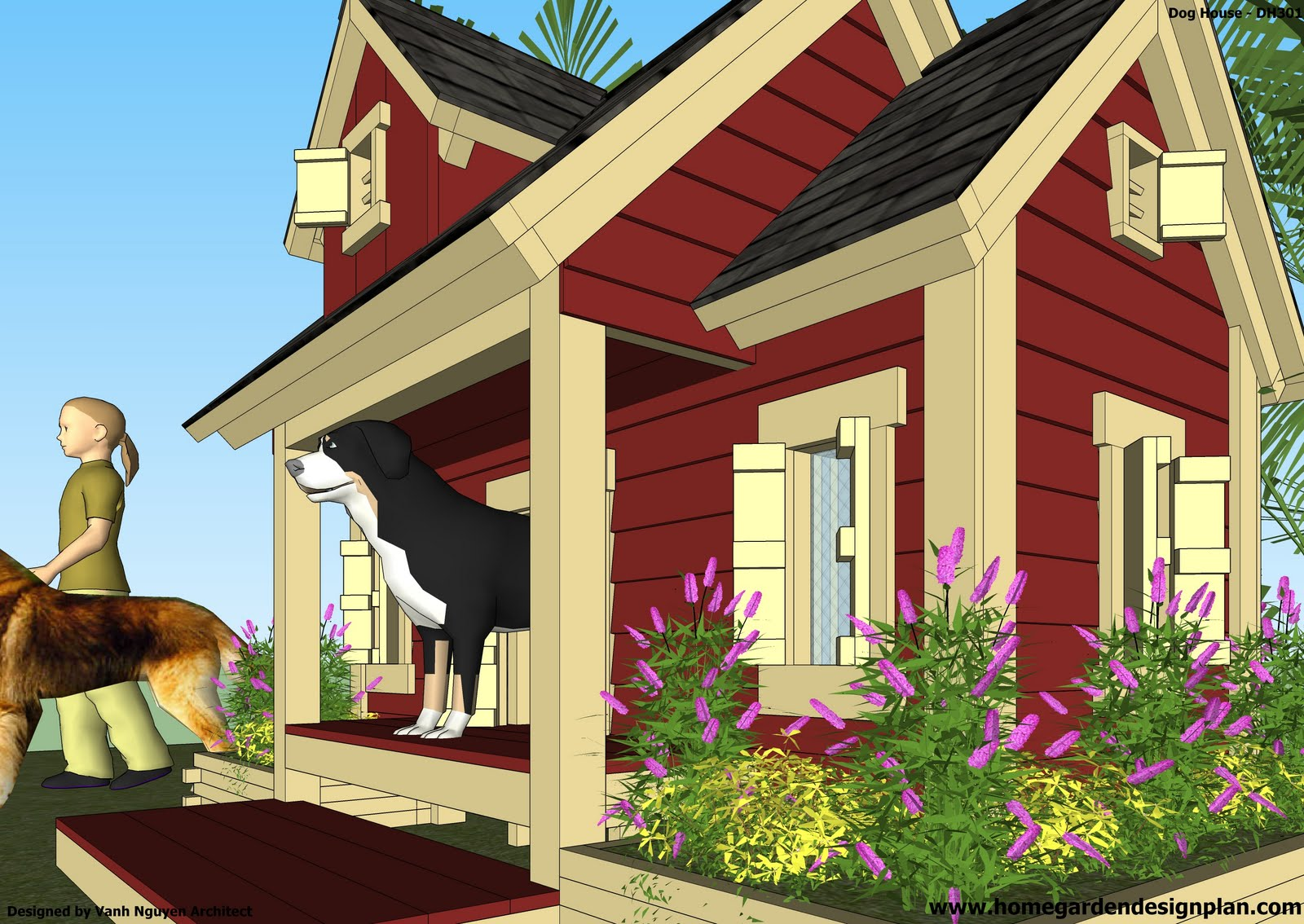 Home garden plans dh301 dog house plans how to build for Free house drawings