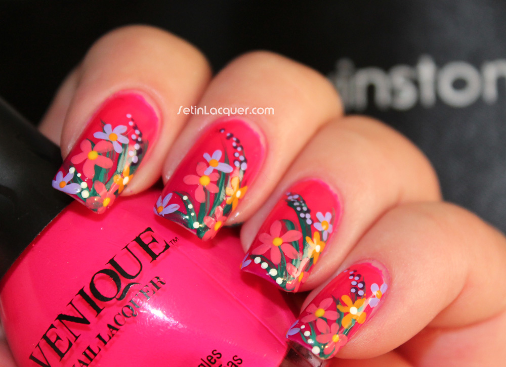 Floral nail art created using Winstonia 8 piece nail art set