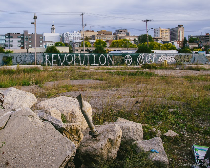 Portland, Maine USA November 2015 Photo by Corey Templeton. The current view from one of the old scrap yards in Bayside between the Bayside Trail and Somerset Street. The area will go through a revolution of sorts once work begins on the mixed-use Midtown development.