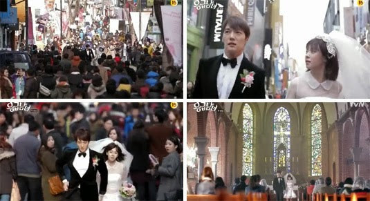 Choi Jin Hyuk 윤종훈 as Oh Chang Min and Song Ji Hyo 송지효 as Oh Jin Hee, run through the crowded streets in tuxedo and wedding dress. / The couple stands before a church congretation.