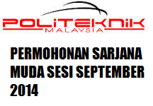 Permohonan Program Sarjana Muda Politeknik Sesi September 2014