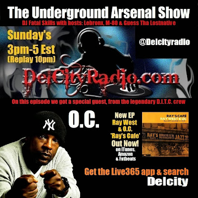 http://www.mixcloud.com/DelCityRadio/the-underground-arsenal-show-with-special-guest-oc-of-ditc/
