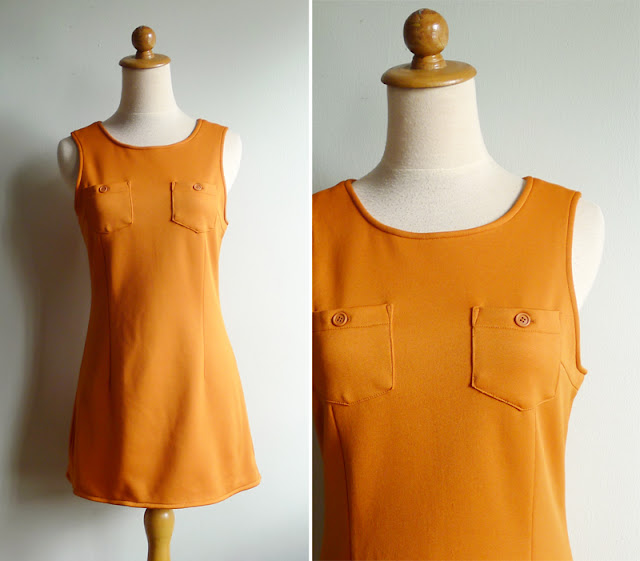 retro orange mini dress