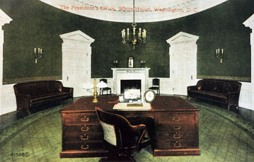 Here is a hand tinted photo of the first oval office designed by nathan c wyeth for president william howard taft in 1909