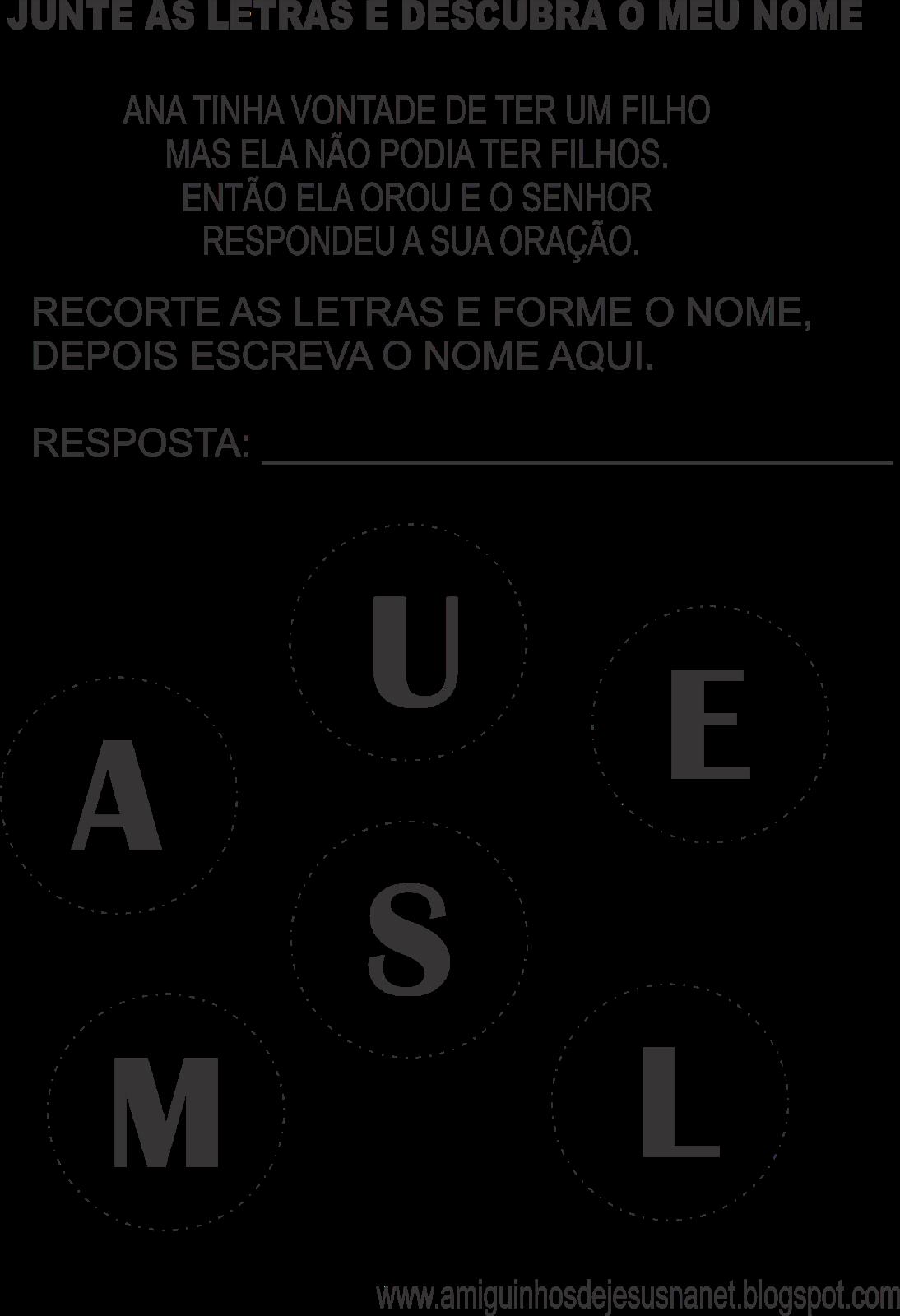 Samuel atividade do ministério infantil