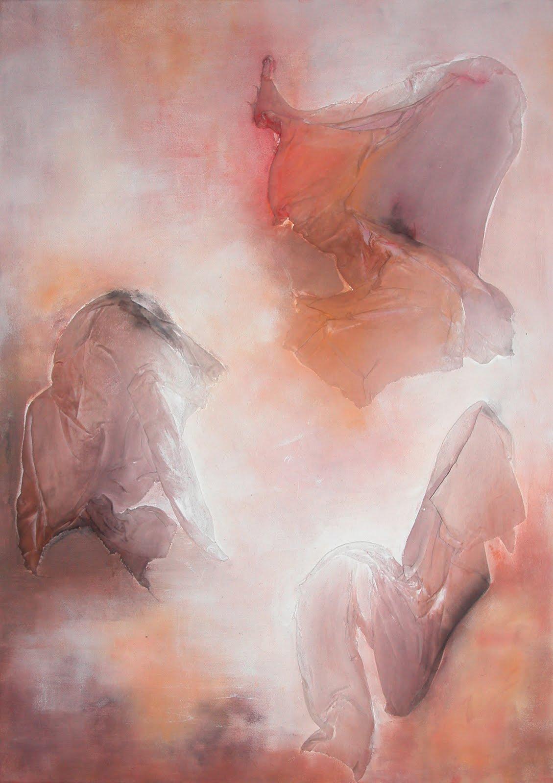 """""""Fantômes"""" - Pigments, peinture et tissu sur toile - 2013"""