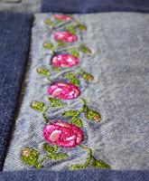 denim jeans quilt roses