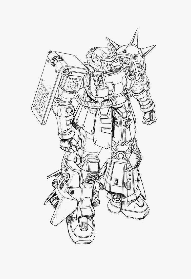 Zaku Lineart : Gundam thunderbolt series line art kits