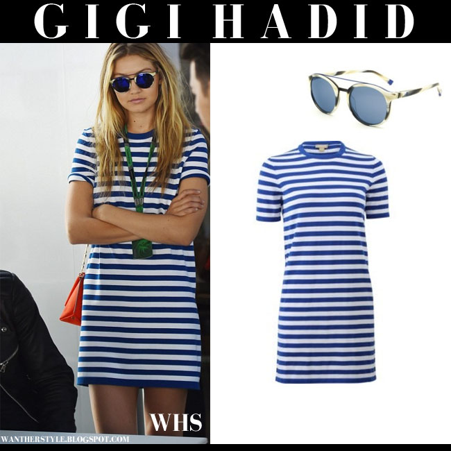 Gigi Hadid in white and blue striped mini dress from Michael Kors what she wore june 7