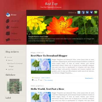 Red Top Blogger Template. blogger template from wordpress theme