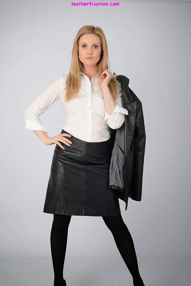 Sexy Blonde White Blouse and Black Leather Skirt