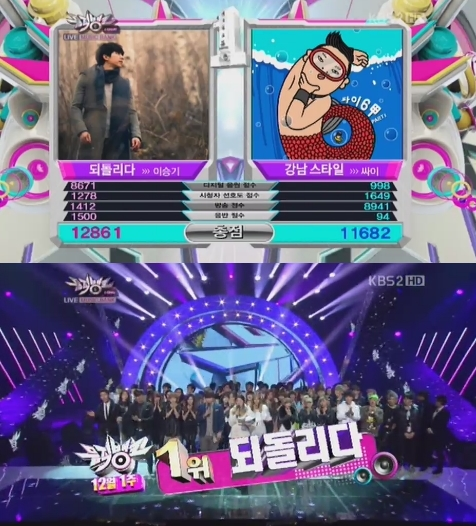 Lee Seunggi Kalahkan Psy di Music Bank