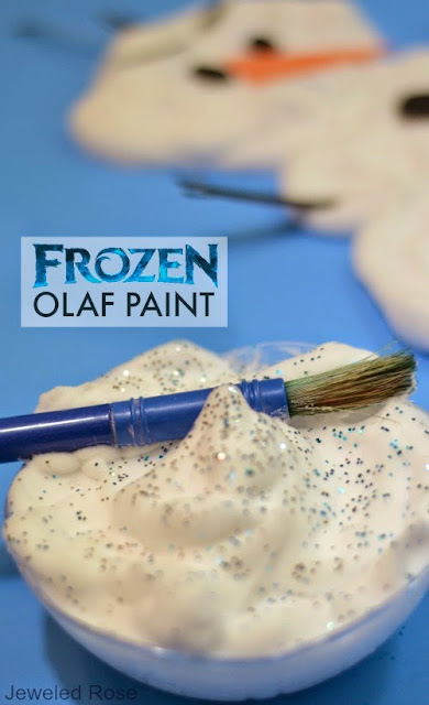 Frozen Olaf Paint- this paint is icy cold and dries puffy; the perfect recipe for painting Olaf