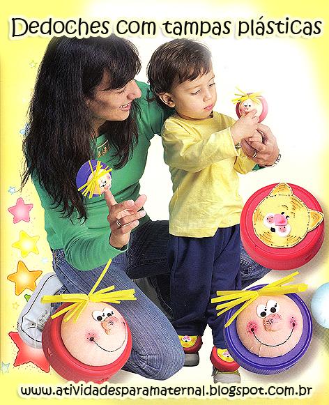 dedoches feitos com tampas plásticas e eva para maternal