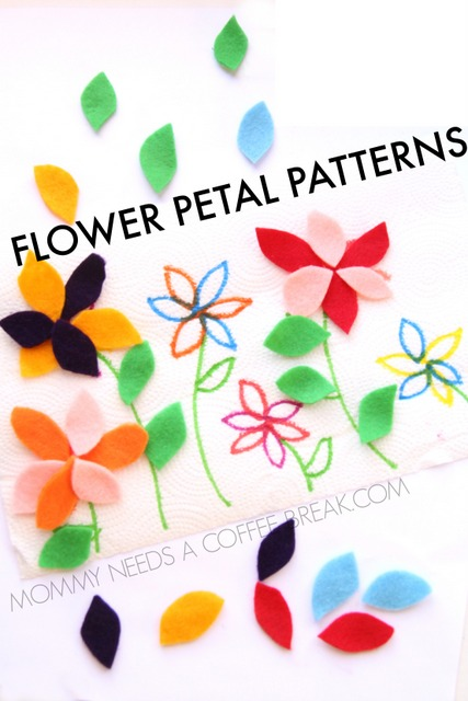 Flower petal pattern busy bag activities. Did you know felt can stick to a paper towel?