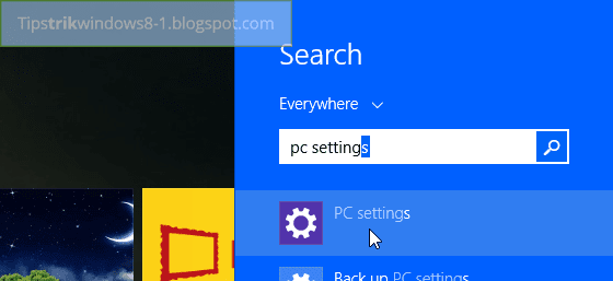 mencari pc settings di search charm