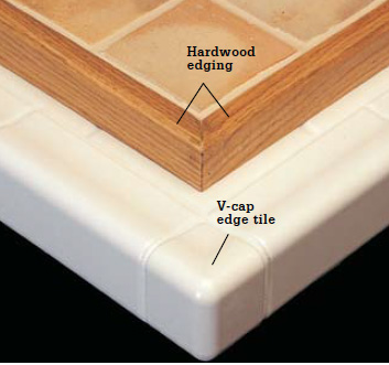 Countertop Edge Options For Tile : edge options include v cap edge tile and hardwood strip