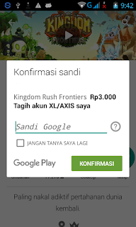 Konfirmasi Sandi di Google Play Store Android