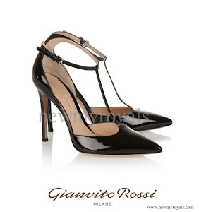 Crown Princess Mary Style GIANVITO ROSSI Patent-leather T-bar Pumps