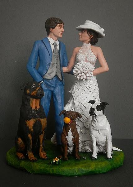 cake topper cani personalizzato statuine sposi acconciatura sposa orme magiche