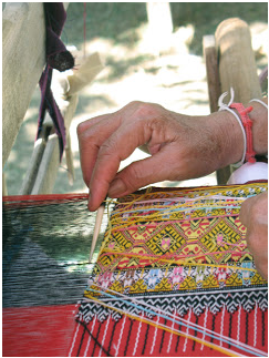 Teen Jok Hand loom weaving