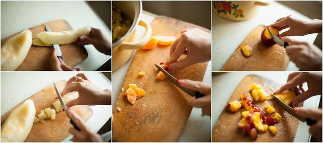Режем дыню, персик и мандарин