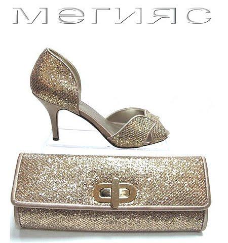 Златни сандали и чанта от блестяща еко кожа