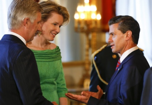 King Philippe of Belgium and Queen Mathilde of Belgium met with participants of the EU-CELAC at the Royal Palace