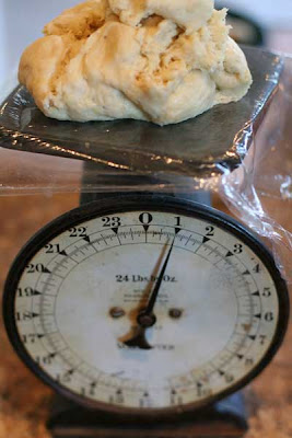 scale with dough