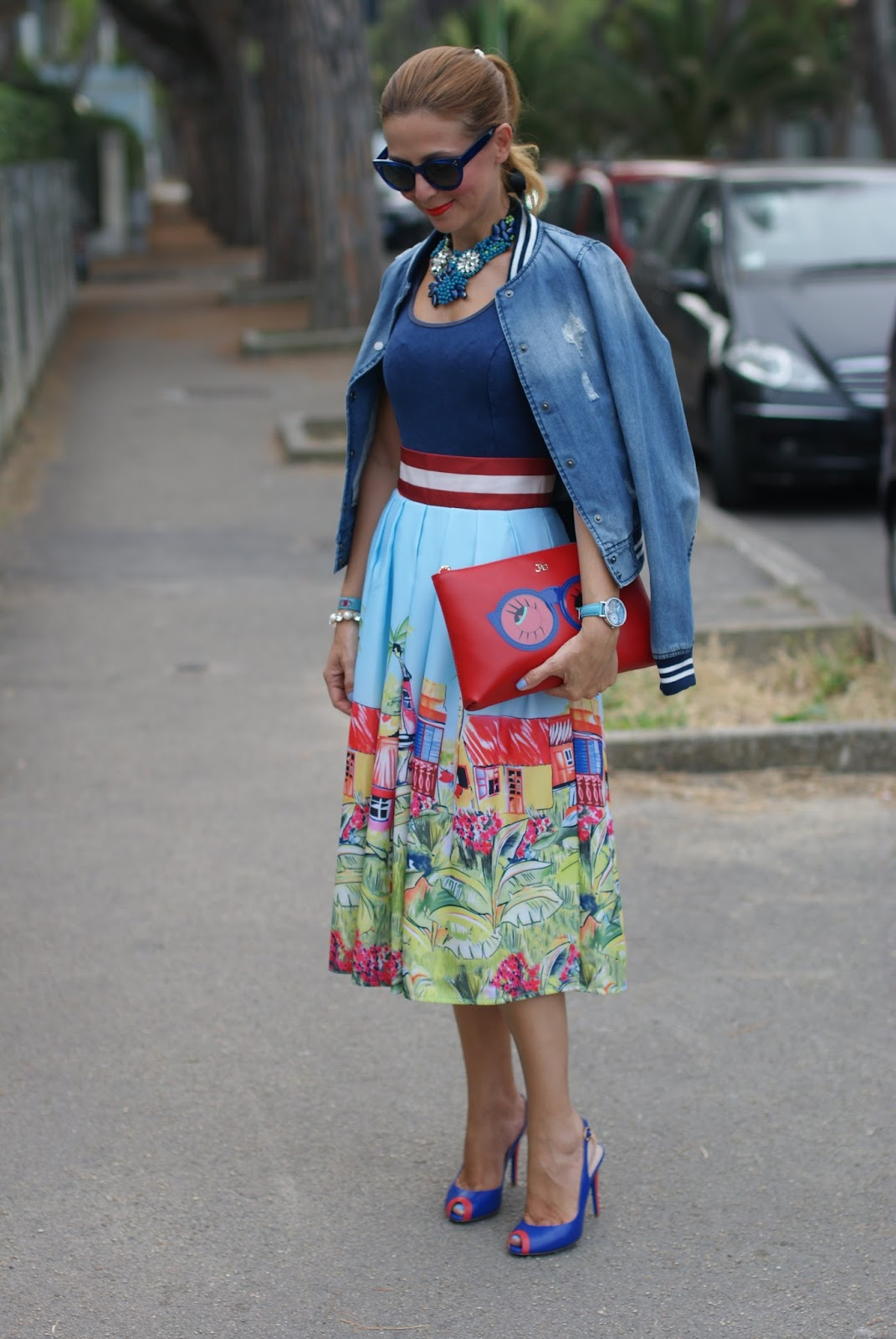 Hype Glasses new summer 2015 collection and Zaful Stella Jean lookalike midi skirt on Fashion and Cookies fashion blog