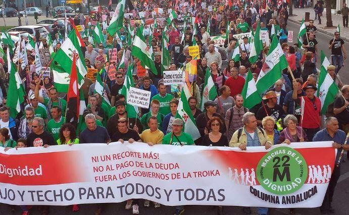Inicio de la Columna Andalucía en Córdoba, tomado de la página FB de Marchas por la Dignidad 22M