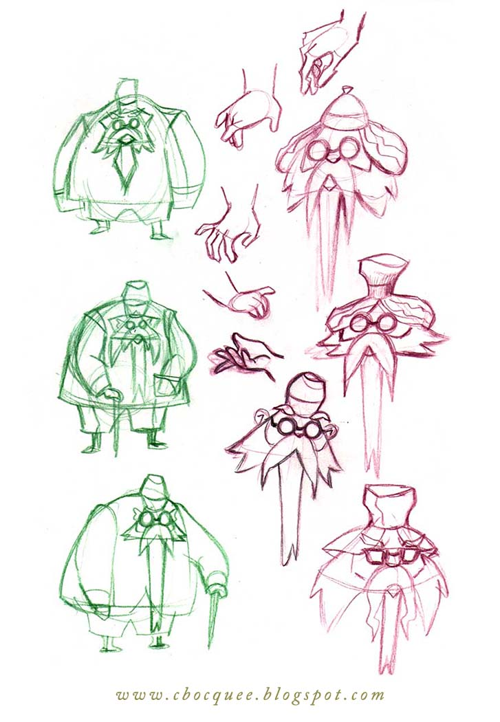 Jekyll character design process sketches